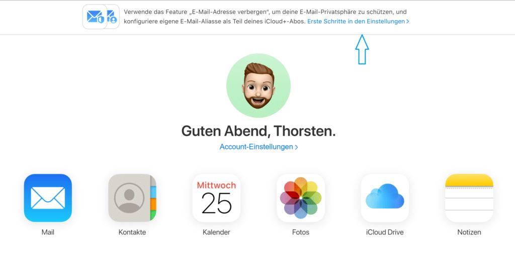 iCloud Mail Pfeil